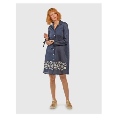 Šaty La Martina Woman Dress L/S Cotton Muslin - Modrá
