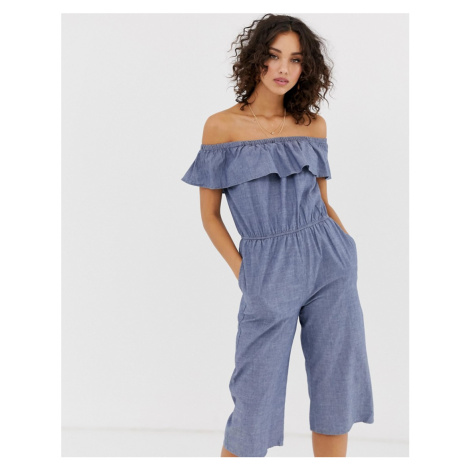 Vero Moda off shoulder chambray jumpsuit
