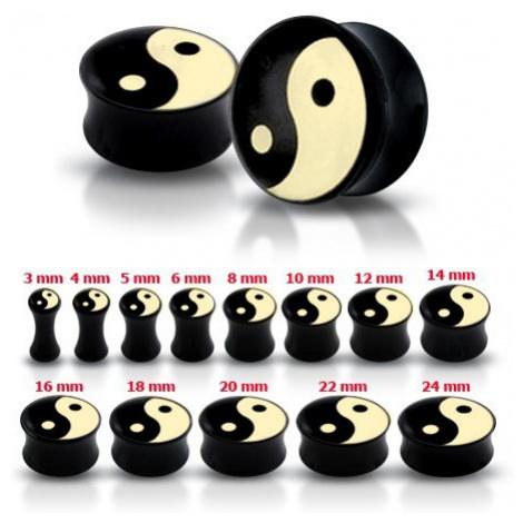 Lesklý černý plug do ucha se symbolem Jing a Jang - Tloušťka : 8 mm Šperky eshop