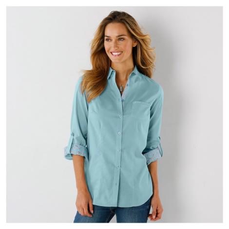 Blancheporte Jednobarevná košilová halenka, bavlna tyrkysová