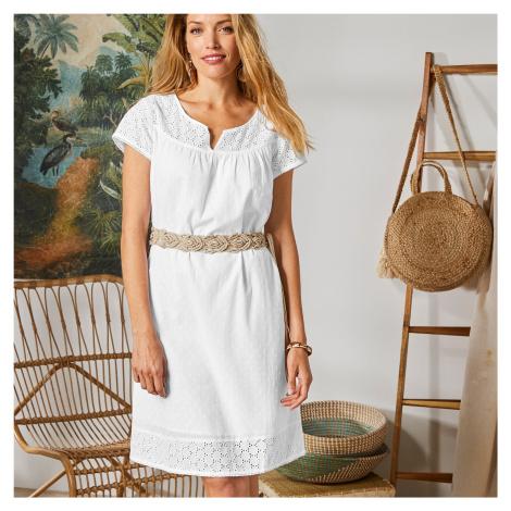 Blancheporte Šaty s anglickou výšivkou bílá