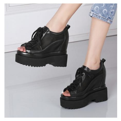 Šněrovací boty letní síťovaná obuv na platformě s otevřenou špičkou