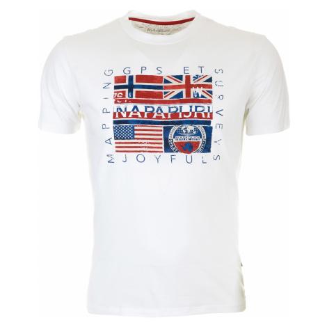 Pánské bílé tričko Napapijri s vlajkovým potiskem