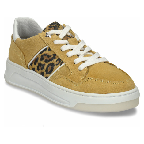 Žluté dívčí kožené tenisky s leopardím vzorem Bullboxer