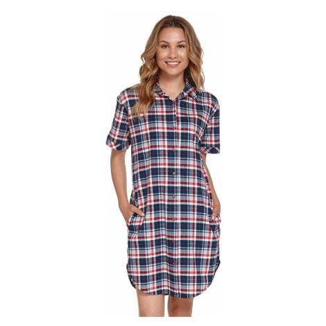 Noční košilka Tami červeno-modrá káro dn-nightwear