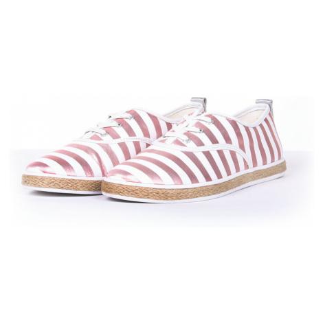 Guess dámské bílo růžové pruhované tenisky