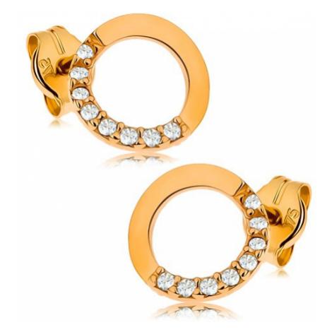Zlaté náušnice 375 - obrys kruhu s čirou zirkonovou polovinou, 7 mm Šperky eshop