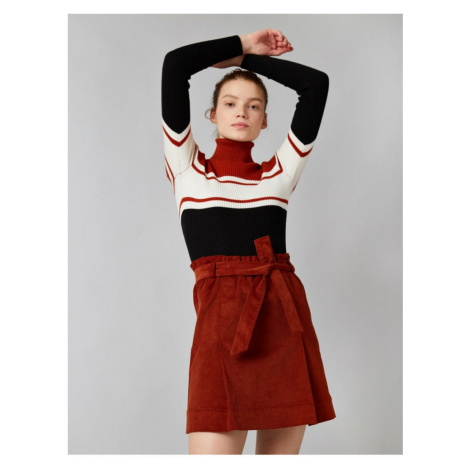 Koton Women's Brown Corduroy Belted Mini Skirt