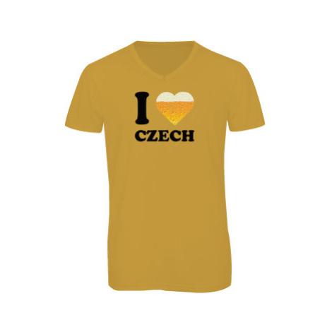 Pánské triko s výstřihem do V I love czech beer