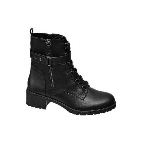 Černá šněrovací obuv Graceland se zipem