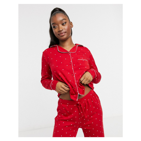 New Look button up pyjama set in red spot-Grey