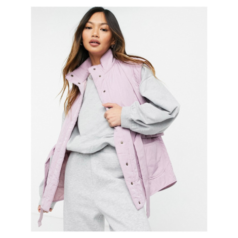 Y.A.S quilted gilet with high neck and tie waist in lilac-Purple