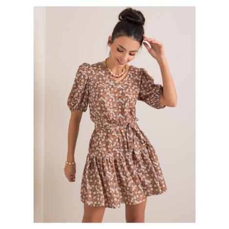 Light brown women´s dress with flowers Fashionhunters