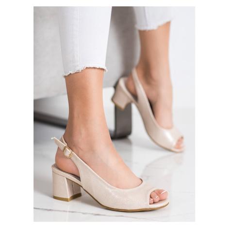 Jedinečné dámské sandály zlaté na širokém podpatku GOODIN