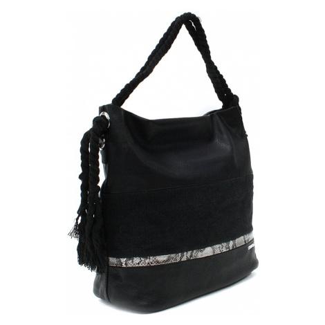 Černá velká dámská kabelka s lanovými uchy Willa Mahel