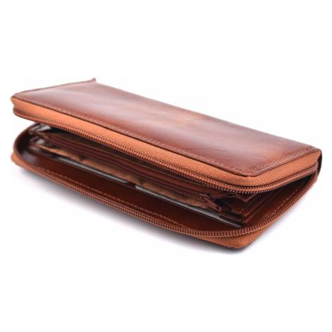 Dámská kožená peněženka na šířku s obvodovým zipem vybavená hnědá, 19 x 1 x 10 (SB00-H923-03KUZ)