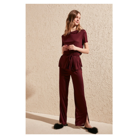 Trendyol Burgundy Binding Detailed Knitted Pyjama Set