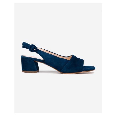 Högl modré kožené boty na podpatku