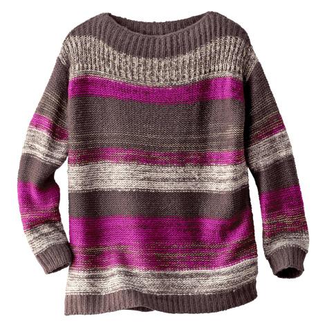 Blancheporte Pruhovaný pulovr se zlatým vláknem čokoládová/purpurová