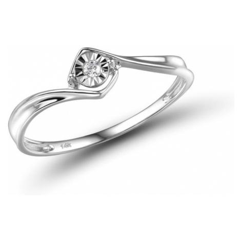 Dámský prsten z bílého zlata v klasiclém stylu s diamantem