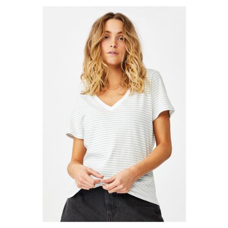Dámské basic triko s krátkým rukávem One pruhované Cotton On