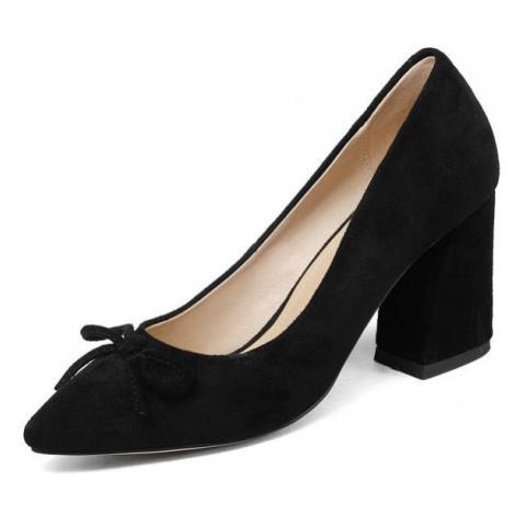 Semišové lodičky s mašlí svatební boty na hranatém podpatku