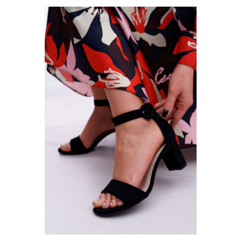 Women's Sandals On Heel Suede Black Lexi Kesi