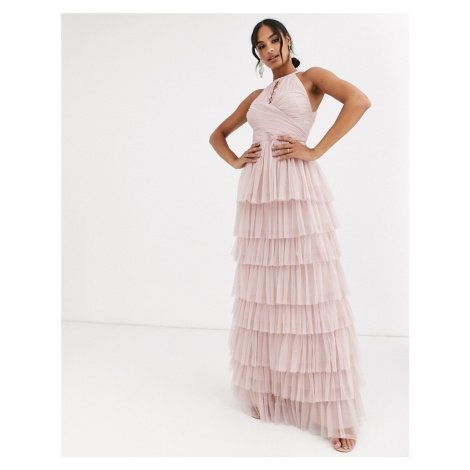 Anaya With Love halter neck tiered maxi dress with keyhole detail in frosted pink