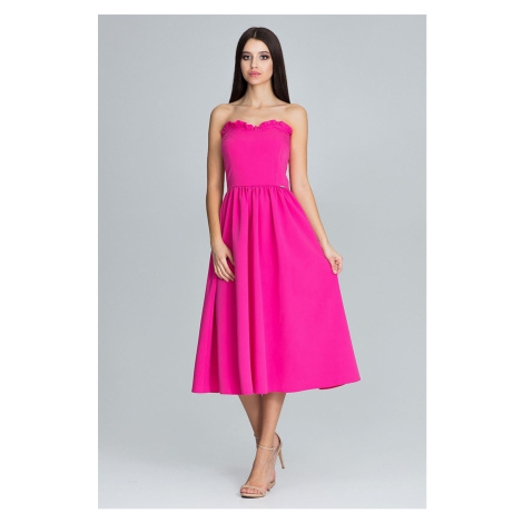 Růžové šaty červené korzetové bez ramínek a bez rukávů