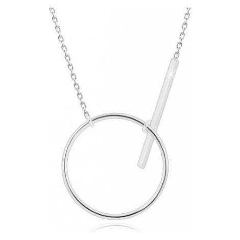 Stříbrný náhrdelník 925 - blýskavý řetízek, lesklá kontura kruhu a tyčinka Šperky eshop