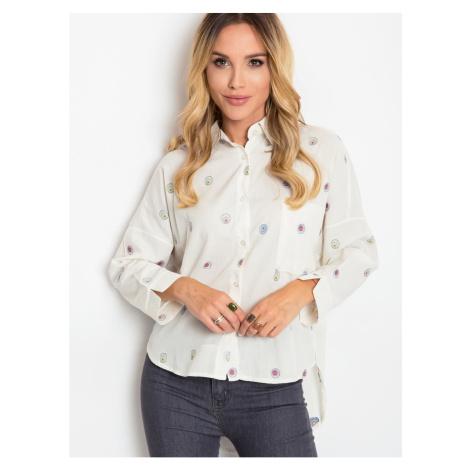 Shirt with embroidery RUE PARIS ecru Fashionhunters