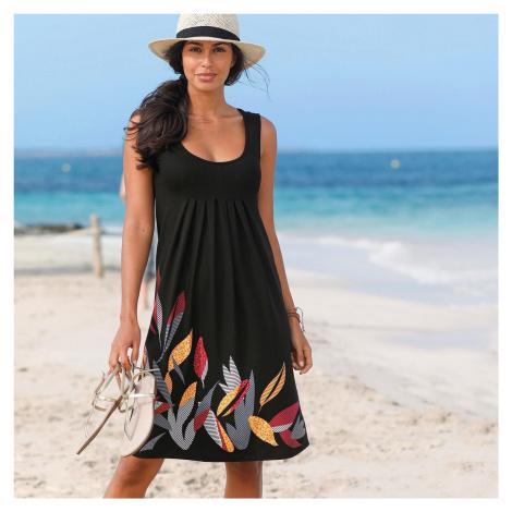 Blancheporte Šaty se středovým potiskem a kulatým výstřihem černá/korálová
