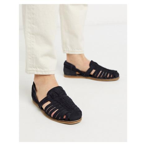ASOS DESIGN woven sandals in navy suede-Stone