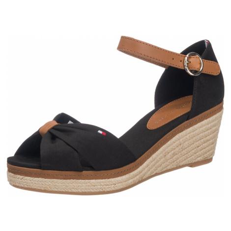 TOMMY HILFIGER Páskové sandály 'Elba' koňaková / černá