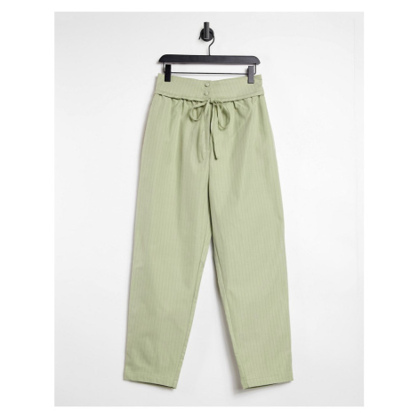 Lost Ink high waist trousers with tie waist detail in sage pinstripe-Green
