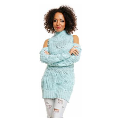 Dámský sexy svetřík rolák pulovr s odhalenými rameny