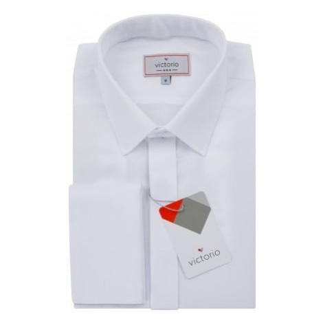Victorio Jednoduchá pánská košile v bílé barvě V374