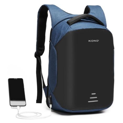 Modrý bezpečnostní voděodolný batoh s USB portem Conor Lulu Bags