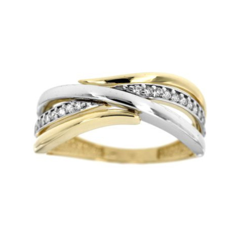 Dámský dvoubarevný prsten se zirkony 2523žb