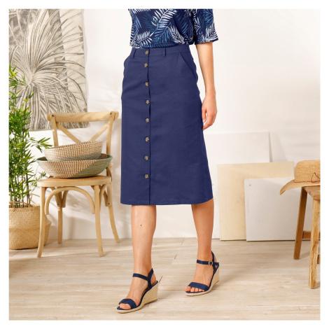 Blancheporte Rovná sukně na knoflíky modrá