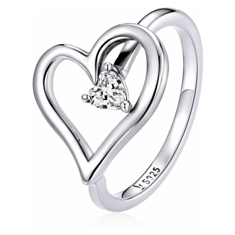 Linda's Jewelry Stříbrný prsten Srdce z lásky 925/1000 IPR084 Velikost: 52