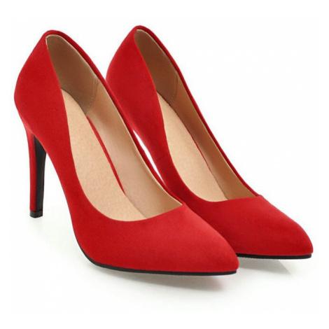 Elegantní semišové lodičky červené na jehlovém podpatku