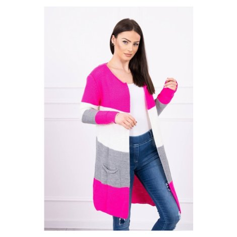 Sweater Cardigan in the straps pink neon+ecru Kesi