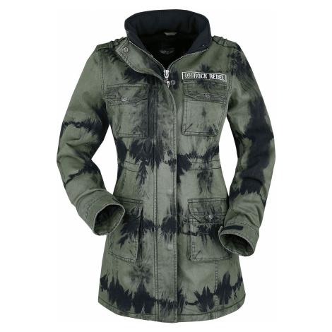 Rock Rebel by EMP Zelená zimní bunda s batikou Dámská bunda cerná/olivová