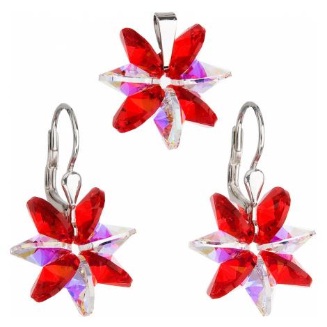 Evolution Group Sada šperků s krystaly Swarovski náušnice a přívěsek červená kytička ab efekt 39