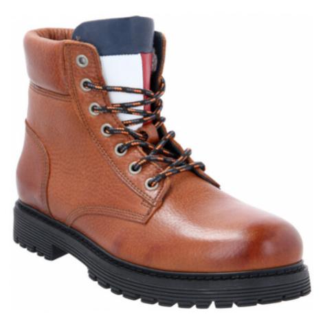 Tommy Jeans pánská hnědá kožená kotníková obuv Tommy Hilfiger