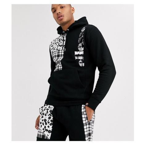 Ellesse Oliver patchwork panel hoodie in black exclusive at ASOS