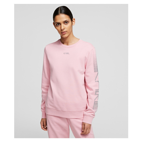 Mikina Karl Lagerfeld Rhinestone Logo Sweatshirt - Růžová