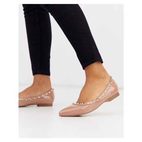 RAID Eavie studded ballet flats in blush patent-Pink
