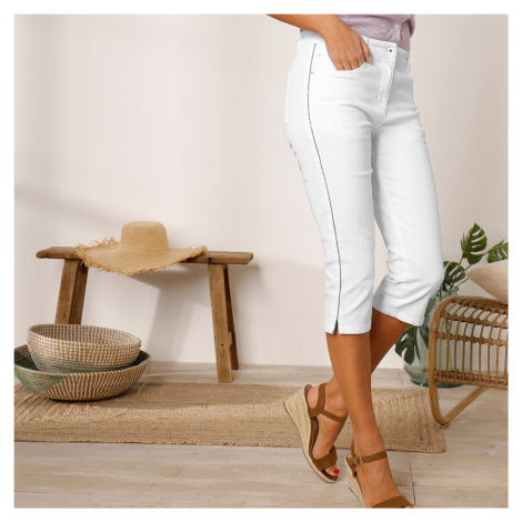 Blancheporte Barevné prodlužující korzárské kalhoty bílá